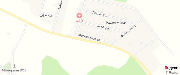 Молодежная улица на карте деревни Кожемяки с номерами домов