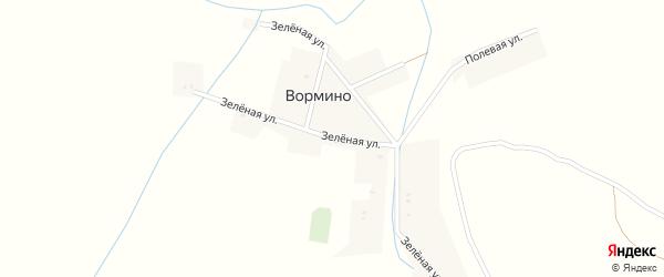 Зеленая улица на карте деревни Вормино с номерами домов