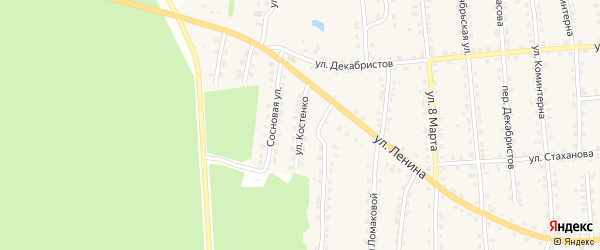 Улица Костенко на карте поселка Клетня с номерами домов