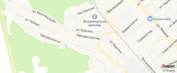 Офицерский переулок на карте поселка Клетня с номерами домов