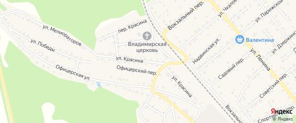 Улица Красина на карте поселка Клетня с номерами домов