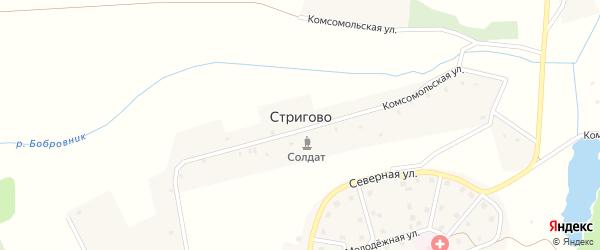 Комсомольская улица на карте села Стригово с номерами домов