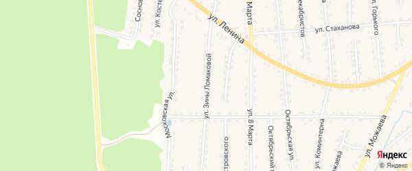 Улица Зины Ломаковой на карте поселка Клетня с номерами домов