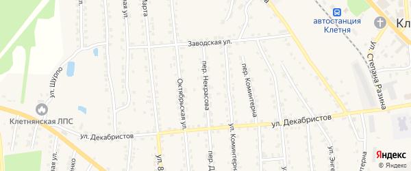 Переулок Некрасова на карте поселка Клетня с номерами домов