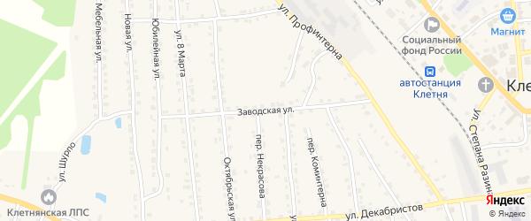 Заводская улица на карте поселка Клетня с номерами домов