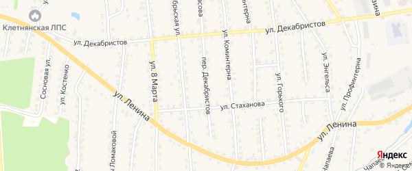 Переулок Декабристов на карте поселка Клетня с номерами домов