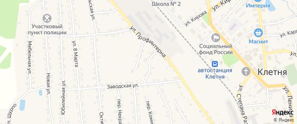 Заводской переулок на карте поселка Клетня с номерами домов