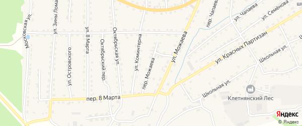 Переулок Можаева на карте поселка Клетня с номерами домов