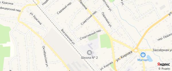 Спортивный переулок на карте поселка Клетня с номерами домов