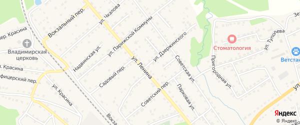Улица Дзержинского на карте поселка Клетня с номерами домов