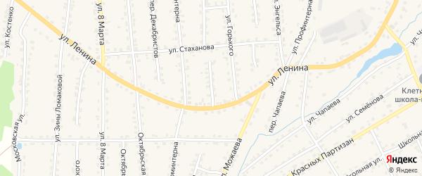 Переулок Горького на карте поселка Клетня с номерами домов