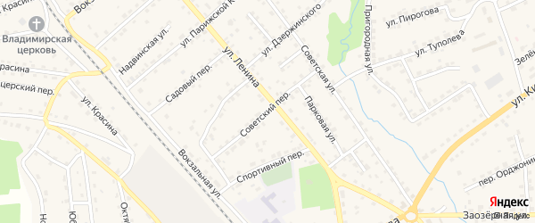 Советский переулок на карте поселка Клетня с номерами домов