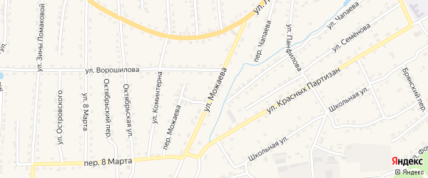 Улица Можаева на карте поселка Клетня с номерами домов