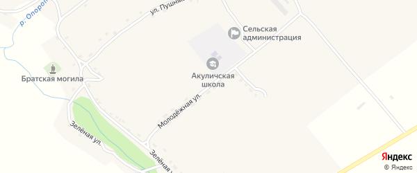 Молодежная улица на карте села Акуличи с номерами домов