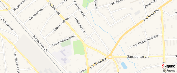 Парковый переулок на карте поселка Клетня с номерами домов