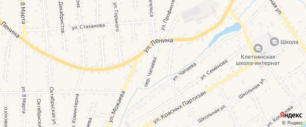 Переулок Чапаева на карте поселка Клетня с номерами домов