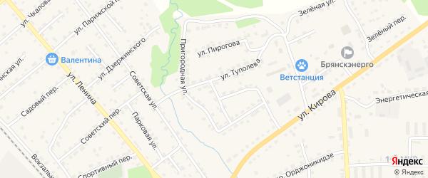 Пригородная улица на карте поселка Клетня с номерами домов