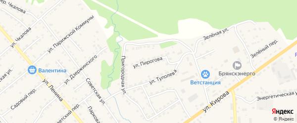 Улица Пирогова на карте поселка Клетня с номерами домов
