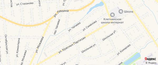 Улица Семенова на карте поселка Клетня с номерами домов