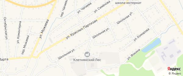 Школьная улица на карте поселка Клетня с номерами домов