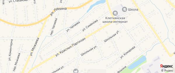 Улица Красных Партизан на карте поселка Клетня с номерами домов