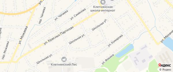 Школьный переулок на карте поселка Клетня с номерами домов