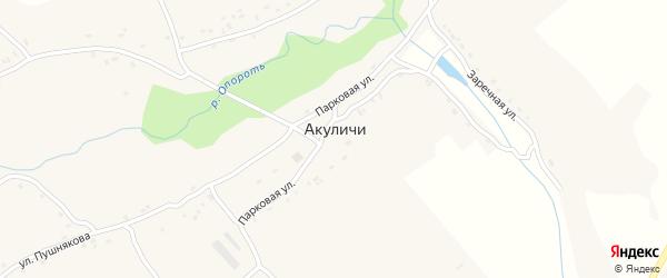 Школьный переулок на карте села Акуличи с номерами домов