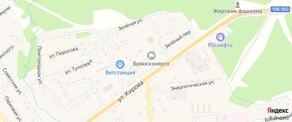 Зеленый переулок на карте поселка Клетня с номерами домов