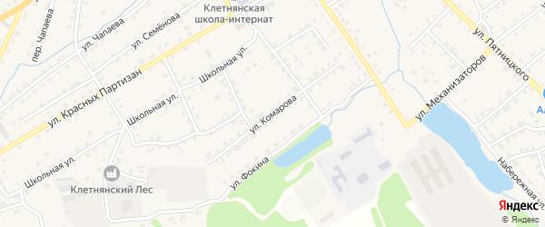 Улица Комарова на карте поселка Клетня с номерами домов