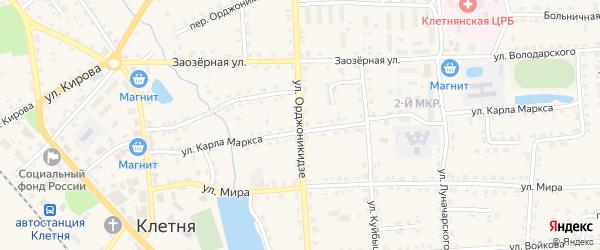 Улица Орджоникидзе на карте поселка Клетня с номерами домов