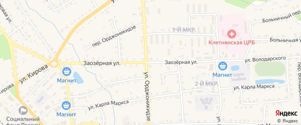 Заозерная улица на карте поселка Клетня с номерами домов