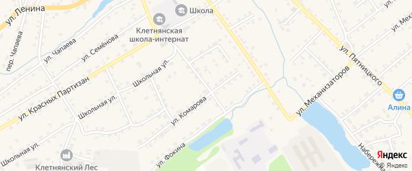 Переулок Комарова на карте поселка Клетня с номерами домов