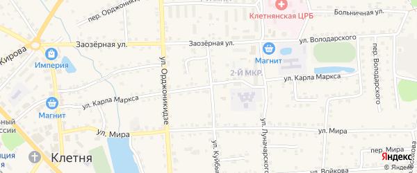 Улица Карла Маркса на карте поселка Клетня с номерами домов