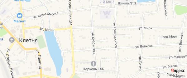 Улица Куйбышева на карте поселка Клетня с номерами домов