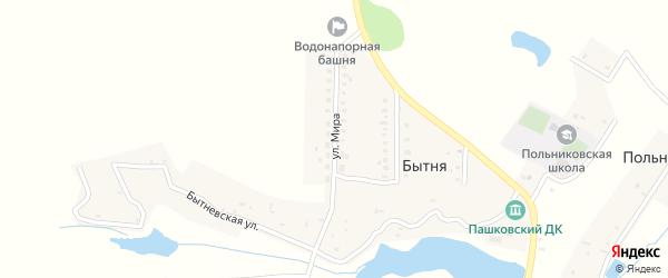 Улица Мира на карте деревни Бытни с номерами домов