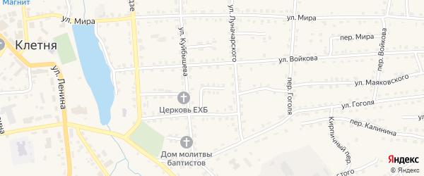 Молодежный переулок на карте поселка Клетня с номерами домов