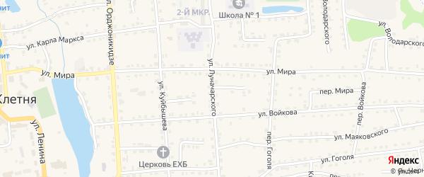 Улица Луначарского на карте поселка Клетня с номерами домов
