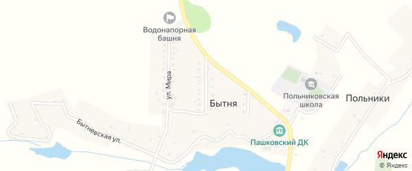Молодежная улица на карте деревни Бытни с номерами домов