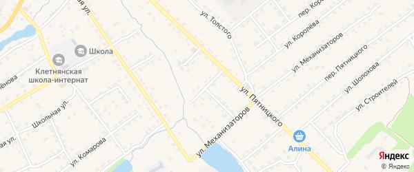 Переулок Механизаторов на карте поселка Клетня с номерами домов