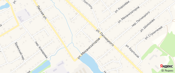 Луговой переулок на карте поселка Клетня с номерами домов