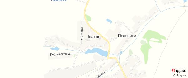 Карта деревни Бытни в Брянской области с улицами и номерами домов