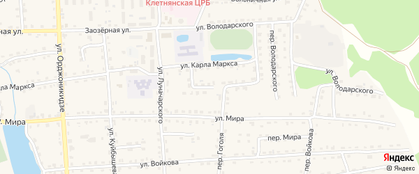 Переулок Луначарского на карте поселка Клетня с номерами домов