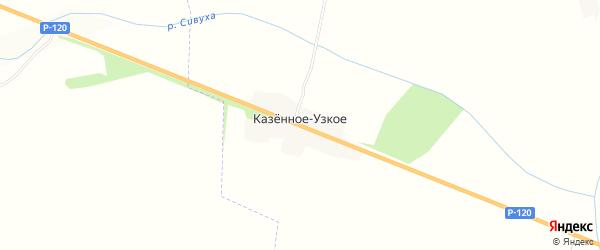 Карта деревни Казенного-Узкого в Брянской области с улицами и номерами домов