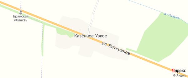 Улица Ветеранов на карте деревни Казенного-Узкого с номерами домов