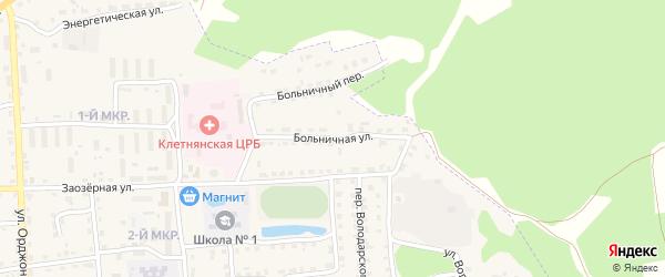 Больничная улица на карте поселка Клетня с номерами домов