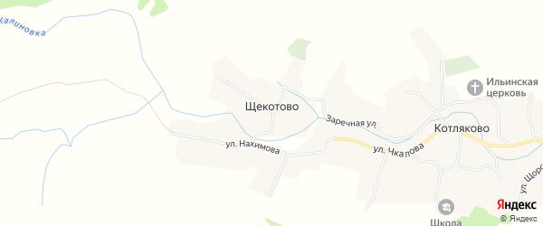 Карта деревни Щекотово в Брянской области с улицами и номерами домов