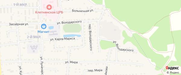 Переулок Володарского на карте поселка Клетня с номерами домов
