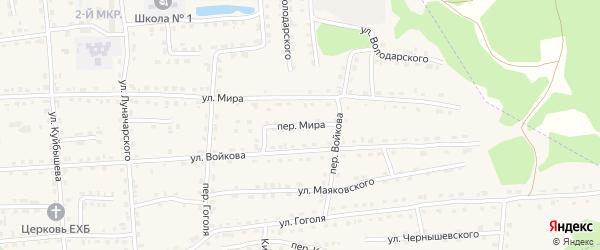 Переулок Мира на карте поселка Клетня с номерами домов