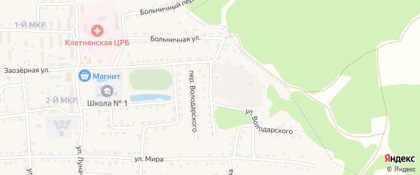 Улица Володарского на карте поселка Клетня с номерами домов