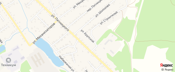 Улица Крупской на карте поселка Клетня с номерами домов